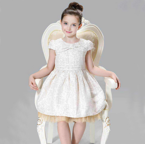 "The ""Jody"" Beige Bow Jacquard Princess Dress"