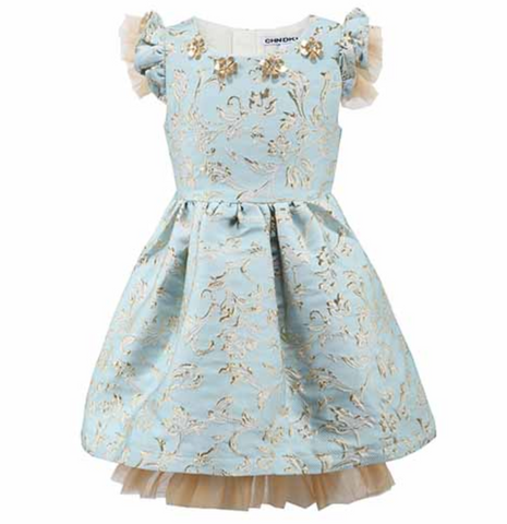 "The ""Taylor"" Sky Blue and Gold Jacquard Princess Dress"