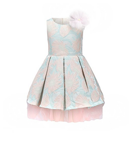 "The ""Lulu"" Pretty Pink and Blue Jacquard Princess Dress"