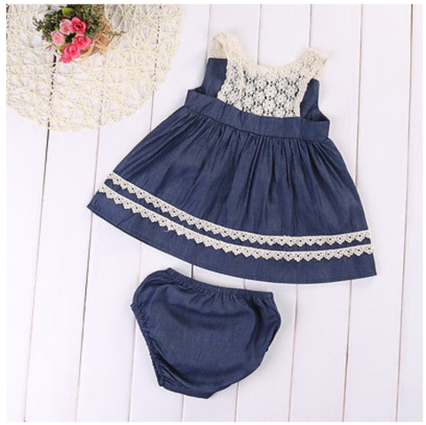 Denim and Lace Baby Dress with Bloomers
