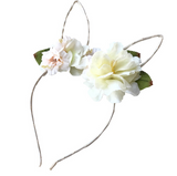 Floral Wire Bunny Ear Headband - White