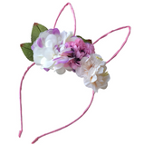 Floral Wire Bunny Ear Headband - Purple