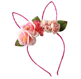 Floral Wire Bunny Ear Headband - Pink