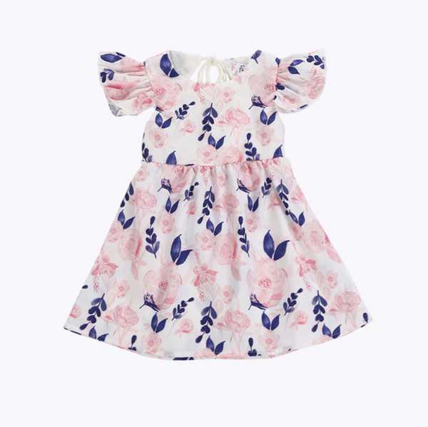 Spring Pink and Blue Floral Dress