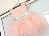 "The ""Alexa"" Pink and Silver Sequin Bow Girls Dress"