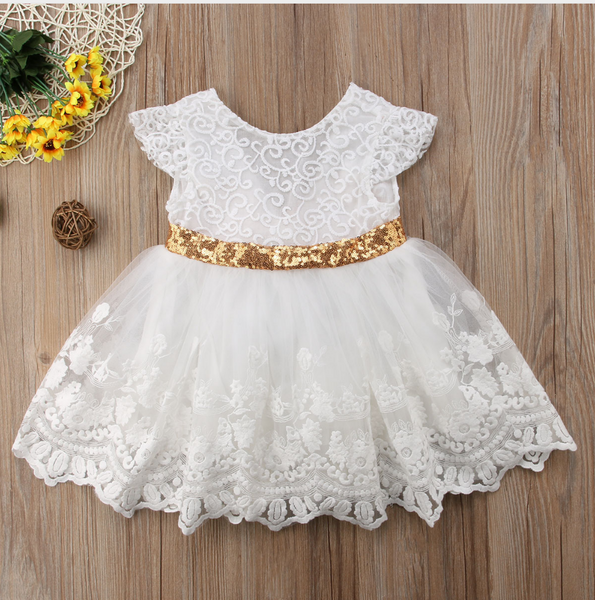 "The ""Marissa"" Off-White Lace Bronze Bow Girls Dress"