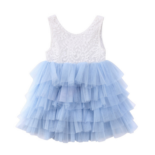 "The ""Marilee"" Lace Layered Dress - Sky Blue"