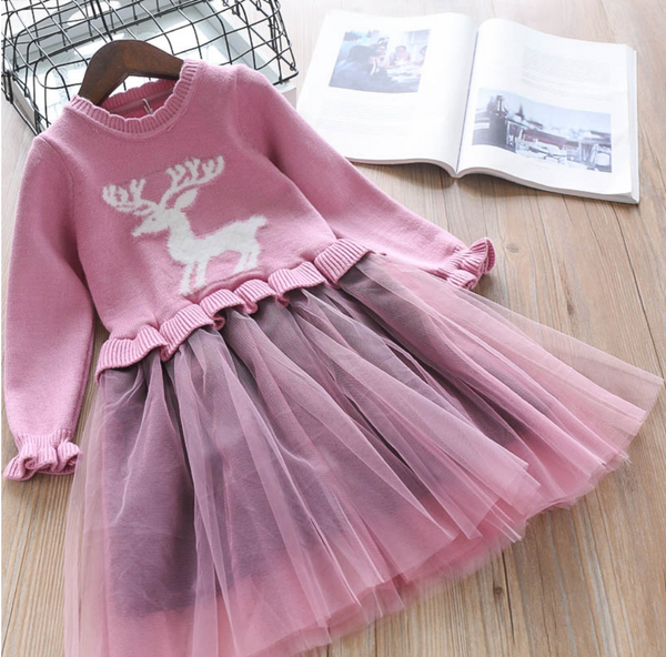 Oh Deer Me! Girls Sweater Dress - Fall/Winter 2019 - Lavender