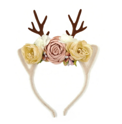 Girls Floral Deer Antler Headband