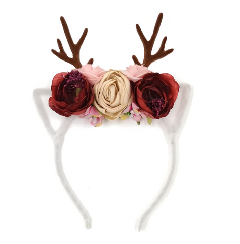 Baby + Toddler Girls Floral Deer Antler Headband