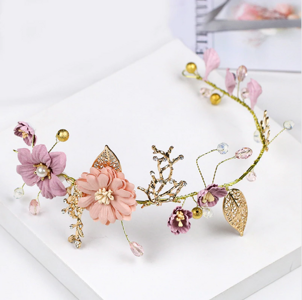 Fantasia Floral Gold Headpiece