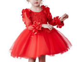 "The ""Farrah"" Girls Red Petal Dress - Long Sleeve"