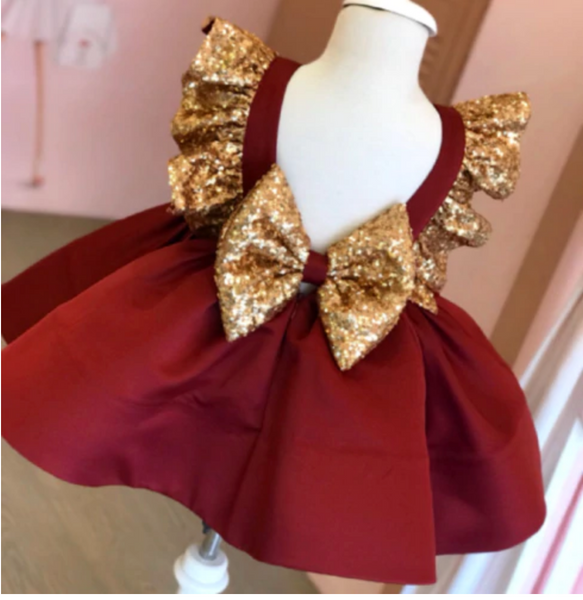 "The ""Sophia"" Shimmer Gold Sequin Red Bow Baby Toddler Dress"