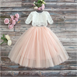 "The ""Sabrina"" Girls Lace Top and Skirt Set - Pink - Angora Boutique"