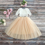 "The ""Sabrina"" Girls Lace Top and Skirt Set - Beige"