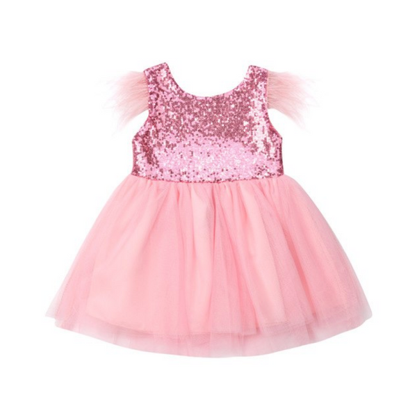 "The ""Kara"" Bubblegum Pink Feather Baby Toddler Dress"