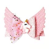 Unicorn Wings Glitter Pink Bow Hair Clip