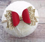 Classy Red and Gold Glitter Bow Headband