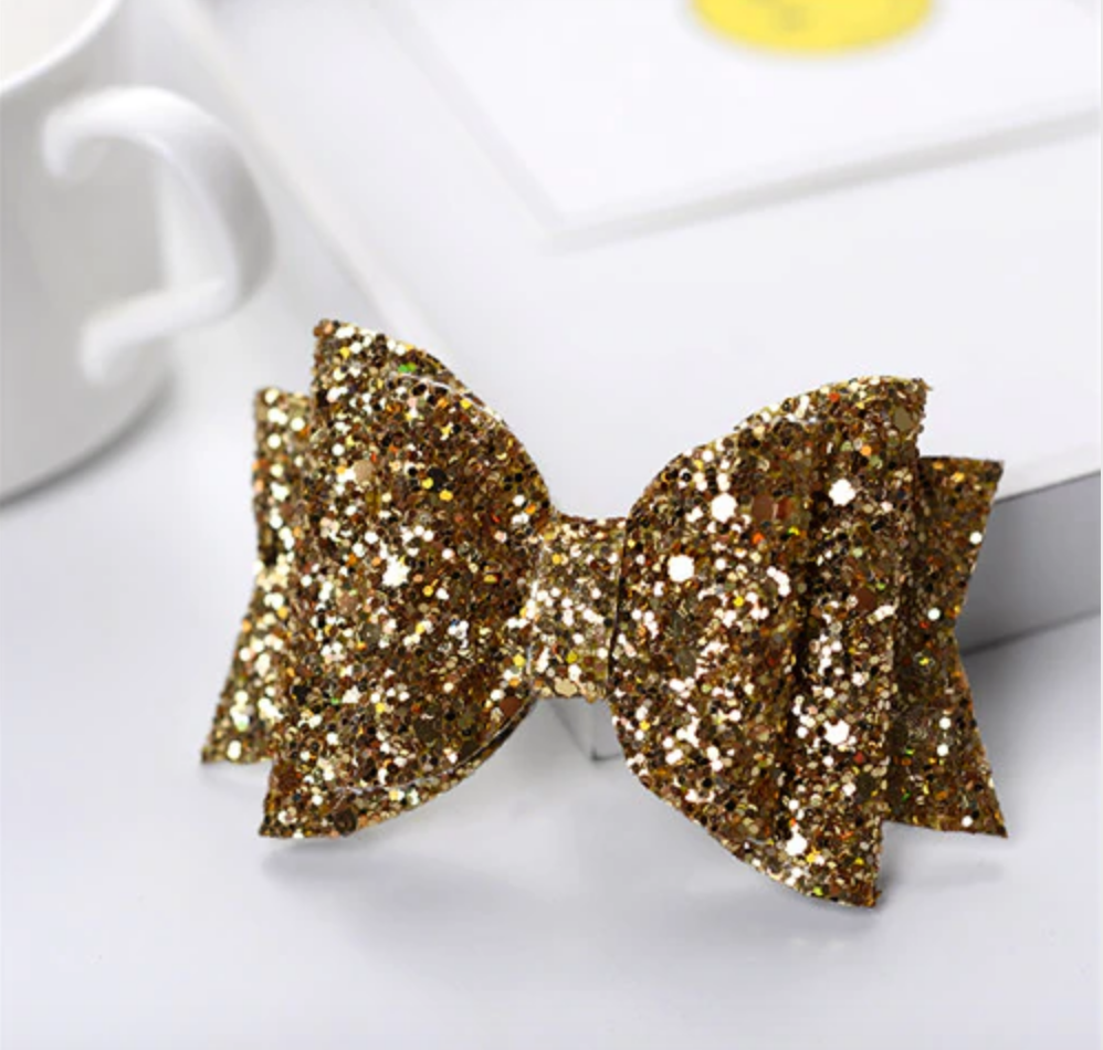 Princess Gold Glitter Bow Hair Clip