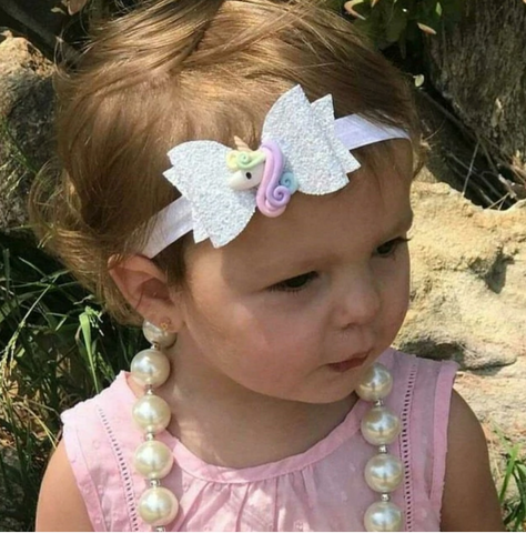Rainbow Unicorn White Glitter Bow Headband