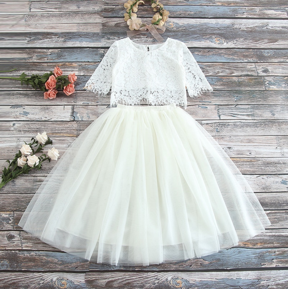 "The ""Sabrina"" Girls Lace Top and Skirt Set - Cream"