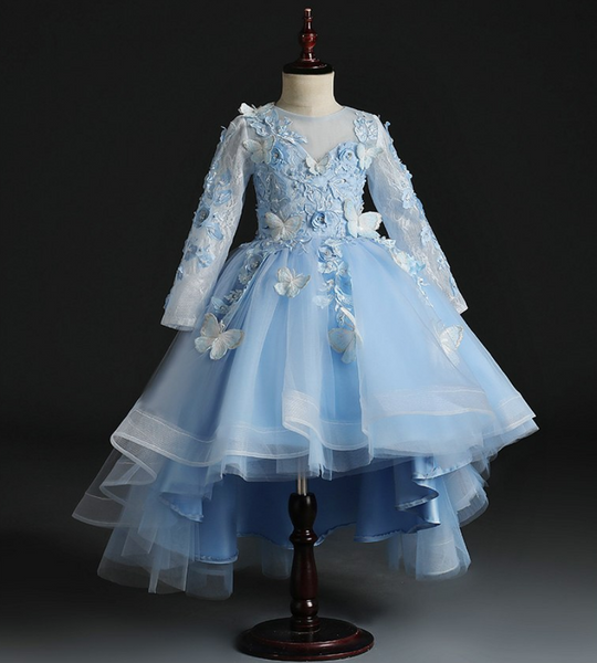 "The ""Papillon"" Girls Blue Butterfly Party Dress"