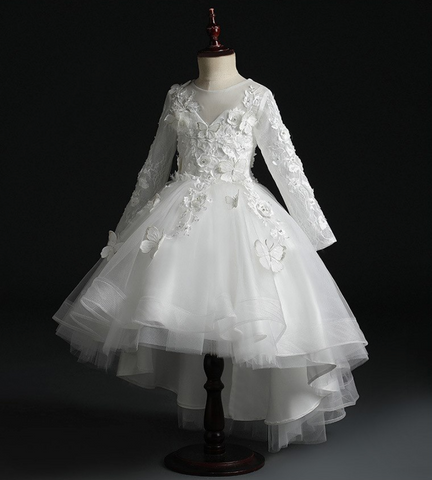 "The ""Papillon"" Girls White Butterfly Party Dress"