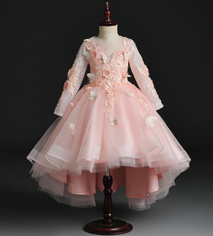 "The ""Papillon"" Girls Pink Butterfly Party Dress"