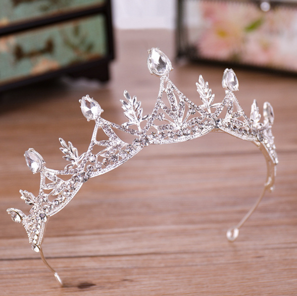 Reesha Feather Silver Rhinestone Tiara