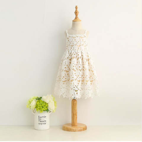 "The ""Mila"" White Lace Khaki Dress"