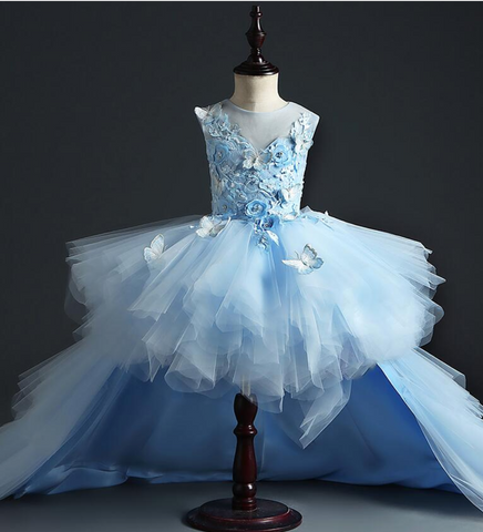 "The ""Anjae"" Girls Blue Butterfly Tutu Dress with Detachable Train"