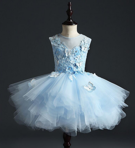 "The ""Anjae"" Girls Blue Butterfly Tutu Dress"
