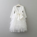 "The ""Emma"" Comfy White Lace Baby + Girls Dress - Long Sleeve"