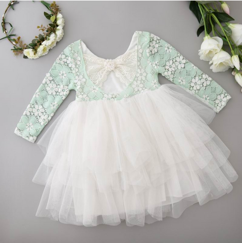 Mint Lace & White Layered Dress