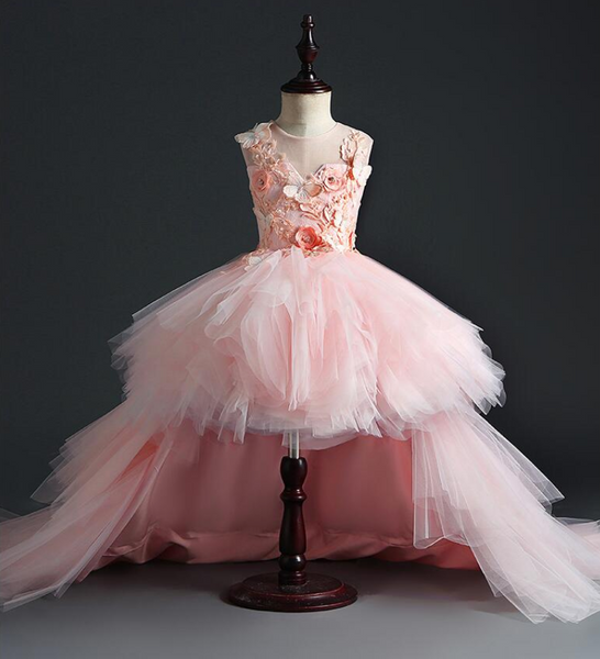 "The ""Anjae"" Girls Pink Butterfly Tutu Dress with Detachable Train"