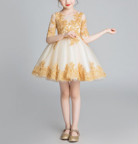 "The ""Isabelle"" Gold Lace Dress"