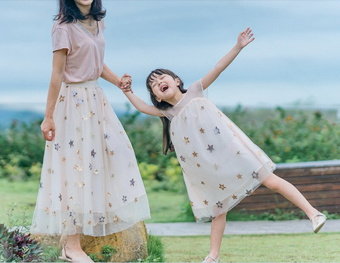 Mommy and Me Apricot Stars Dress & Skirt