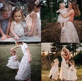 Mommy and Me Glittery Stars Dress & Skirt - Beige, Pink or Gray