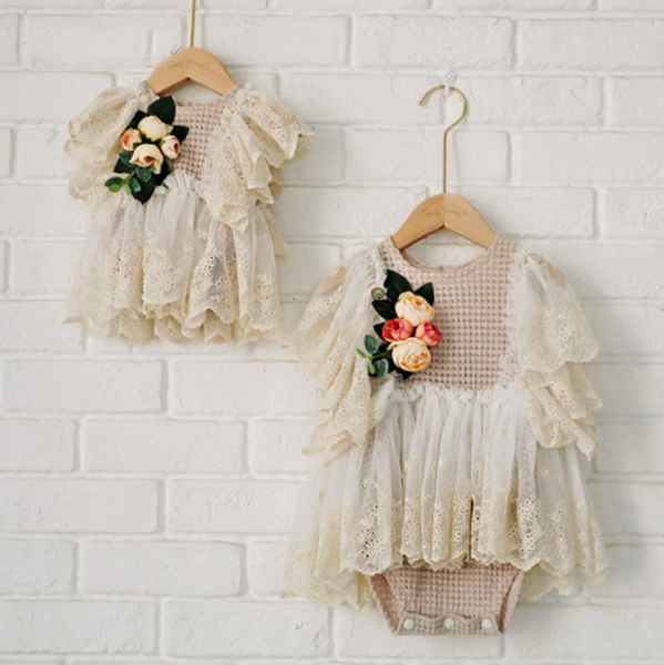 Lillian Lace French Victorian Newborn + Baby Romper - Angora Boutique