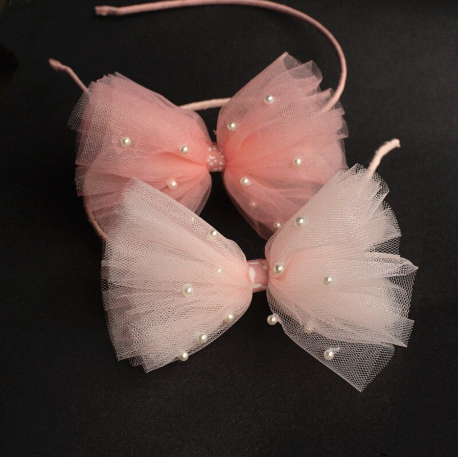 Tulle Bow Headband with Pearls