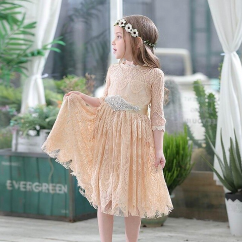 "The ""Amelia"" Beige Soft Lace Girls Dress - Angora Boutique"
