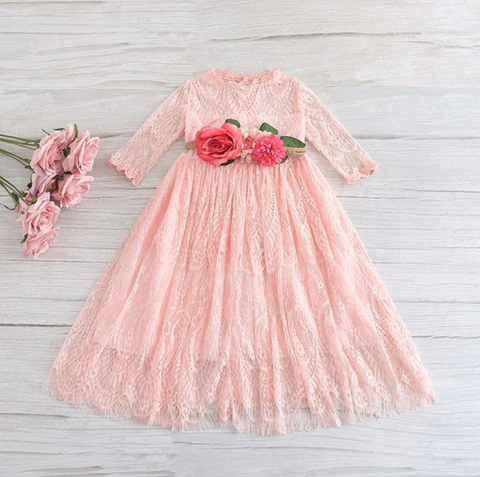 "The ""Amelia"" Pink Lace Girls Dress"