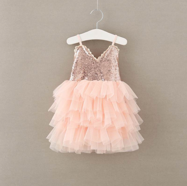 Rose Gold Glam Baby Toddler Dress- Angora Boutique