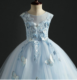 "The ""Mariella"" Girls Blue Butterfly Tutu Dress without Train"