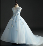 "The ""Mariella"" Girls Blue Butterfly Tutu Dress with Train"