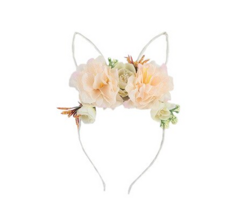 Floral Wire Bunny Ear Headband - Peach