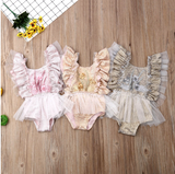 "The ""Sadie"" Floral Tulle Baby Romper - Angora Boutique"