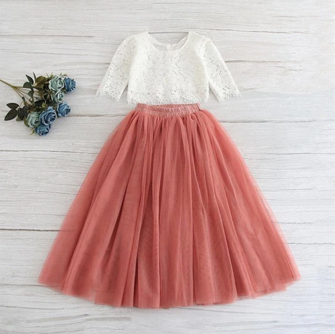 "The ""Sabrina"" Girls Lace Top and Skirt Set - Dusty Rose - Angora Boutique"