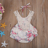 Lindsey Fall Florals & Lace Baby Romper