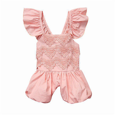 "The ""Elsie"" Baby Pink Lace Romper"